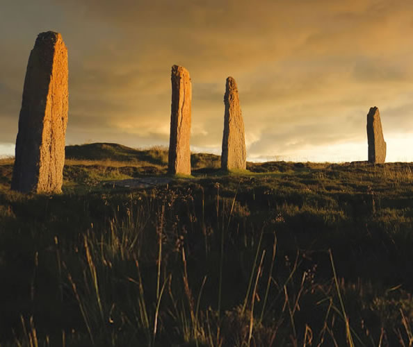 The Ring of Brodgar, a circle of standing stones in the Orkney Islands