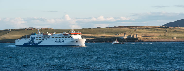 MV Hamnavoe, sailing from Stromness to Scrabster passes the Orkney islands of Graemsay and Hoy